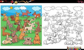 valpar och hundkaraktärer målarbok sida vektor