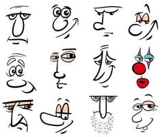 Cartoon Menschen Charaktere Gesichter gesetzt vektor
