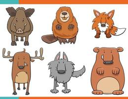 uppsättning tecknade vilda djur roliga karaktärer vektor