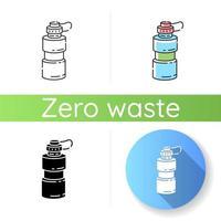 Symbol für wiederverwendbare Wasserflaschen vektor