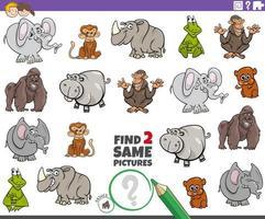 Finde zwei gleiche Wildtierfiguren Aufgabe für Kinder vektor