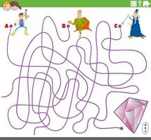 pädagogisches Labyrinthspiel mit Fantasy-Charakteren vektor