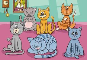 kattgrupp i huset tecknad illustration