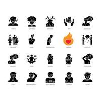 schwarze Glyphenikonen der menschlichen Gefühle setzen auf weißen Raum