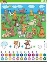 räkna och lägga till uppgift med tecknade husdjur vektor