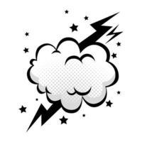 moln med thunderbolt och stjärnor popkonst stilikon vektor