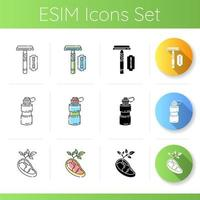 ekosäkra produkter ikoner set vektor
