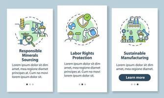 Nachhaltige Herstellung Onboarding Mobile App Seite Bildschirm mit Konzepten