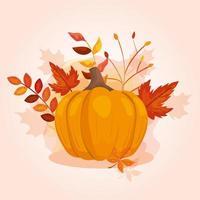 Kürbis mit Herbstblättern vektor