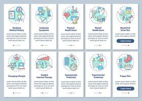 Diagnose des chronischen Müdigkeitssyndroms Onboarding des Bildschirms der mobilen App-Seite mit festgelegten Konzepten