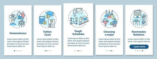 College Living Schwierigkeiten Onboarding Mobile App Seite Bildschirm mit Konzepten vektor