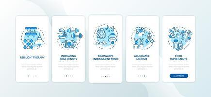 Biohacking-Techniken Onboarding des Bildschirms der mobilen App-Seite mit Konzepten