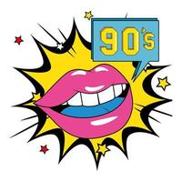 sexy Lippen weiblich mit neunziger Jahren unterzeichnen Explosion Pop-Art vektor