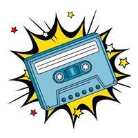 Kassette der neunziger Jahre in der Explosions-Pop-Art