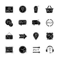 24 7 timmars service svarta glyph ikoner inställda på vitt utrymme. burgercafé öppet hela dagen. 24 timmar tillgänglig leverans. dygnet runt hjälplinjen. silhuett symboler. vektor isolerad illustration