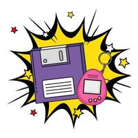 Floppy mit Videospiel-Maskottchen der neunziger Jahre in der Explosions-Pop-Art