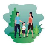 föräldrar par med lilla son på park karaktärer