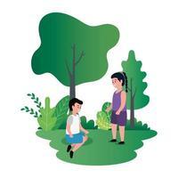 kleines Kinderpaar in der Parkszene vektor