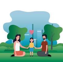 föräldrar par med lilla dotter på park karaktärer