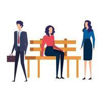 Geschäftsleute sitzen im Parkstuhl vektor