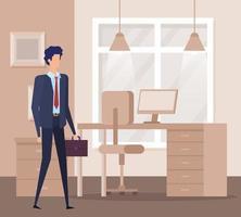 eleganter Geschäftsmannarbeiter in der Büroszene vektor