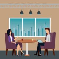 elegante Geschäftspaararbeiter im Büro