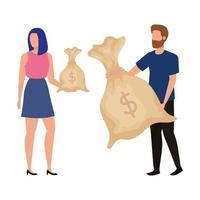 ungt par med pengarpåsar avatarer karaktärer