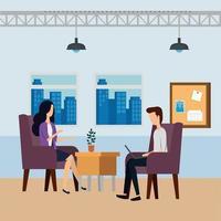 elegante Geschäftspaararbeiter im Büro vektor