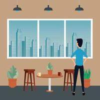 eleganter Geschäftsmannarbeiter in der Büroszene