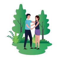süßes Liebespaar auf den Parkcharakteren