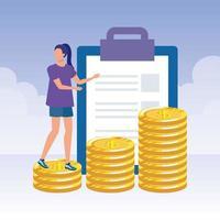 ung kvinna med checklista och pengar vektor