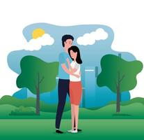 süßes Liebespaar auf den Parkcharakteren vektor