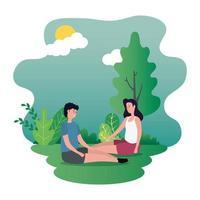 süßes Liebespaar sitzt auf den Parkfiguren vektor