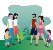 grupp föräldrar med barn i parken