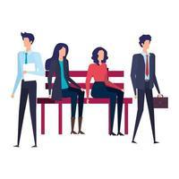 affärsmän som sitter i parkstolen vektor