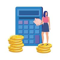 ung kvinna med miniräknare och pengar