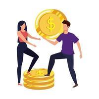 junges Paar mit Münzen Geld Avatare Zeichen vektor
