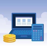 mynt pengar dollar med laptop