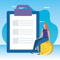 ung kvinna med checklista och pengar