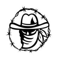 Outlaw trägt Gesichtsmaske mit Stacheldrahtring Maskottchen schwarz und weiß vektor