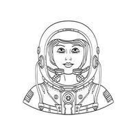 weibliche Astronautin, die einen Raumhelm und einen Raumanzug vorne Tätowierungsstil schwarz und weiß trägt vektor