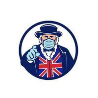 John Bull trägt chirurgische Maske und zeigt Maskottchen vektor