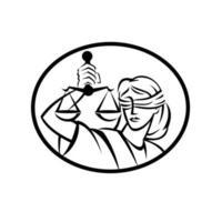 Dame Gerechtigkeit mit Augenbinde und Balkenwaage oder Waage Retro Holzschnitt schwarz und weiß vektor