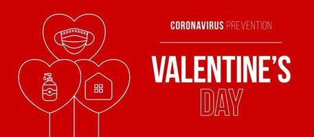 Valentinstag Coronavirus Herz Ballon Banner. Valentinstag Liebesereignisse und Feiertage während einer Pandemievektorillustration auf rotem Hintergrund. Covid-Prävention. vektor