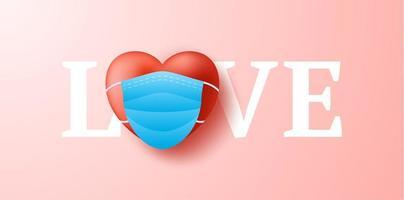 kärleksord med söt realistiskt rött hjärta i blå medicinsk mask. skydd av coronavirus och covid valentine day. vektor illustration kärlek banner