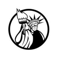 Freiheitsstatue mit chirurgischer Maske Kreissymbol vektor