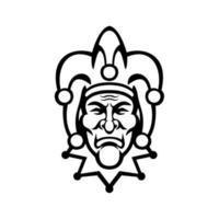 Mittelalter Hofnarr Kopf Vorderansicht Maskottchen schwarz und weiß vektor