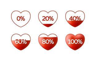 Liebe Kundenbewertung Feedback 5 Herzen Bewertung oder Ranking-Konzept. Vektorillustration Herzform mit Liebe gefüllt vektor