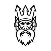 Kopf von Poseidon griechischen Gott Vorderansicht Maskottchen schwarz und weiß vektor