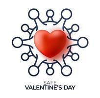 sicheres Valentinstagkonzept. rotes Valentinstag-Liebesherz und Umrissquarantäne-Biohazard-Gefahr. Coronavirus Covid und Liebesherz. Vektorillustration vektor